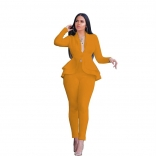 Yellow Long Sleeve V-Neck 2PCS Women Fashion Business Suits