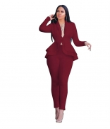 WineRed Long Sleeve V-Neck 2PCS Women Fashion Business Suits