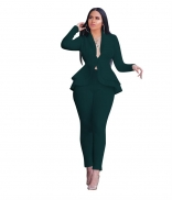 Green Long Sleeve V-Neck 2PCS Women Fashion Business Suits