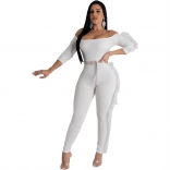 White Seven Sleeve Off-Shoulder Sexy Bodycons Jumpsuit