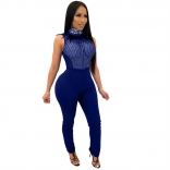Blue Sleeveless Mesh Rainstones Bodycons Sexy Jumpsuit