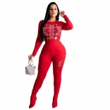 Red Black Long Sleeve Rainstones Women Bodycons Sexy Jumpsuit