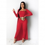 Red Long Sleeve Belts Jumpsuit Women Coat Sets