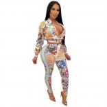 Yellow Long Sleeve V-Neck Zipper Printed Women Jumpsuit