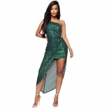 Green Halter V-Neck Sleeveless Sequins Dress