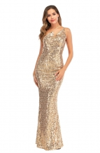 Golden Sleeveless Halter V-Neck Sequins Maxi Evening Dress