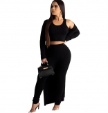 Black Long Sleeve 3PCS Halter Tops Cotton Sexy Catsuit Dress