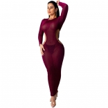 Purple Long Sleeve Mesh Silk Backless Sexy Midi Dress