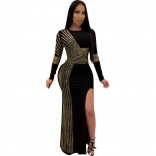 Golden Long Sleeve Rainstones Bodycons Slit O-Neck Evening Dress