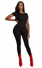 Black Short Sleeve O-Neck Bodycons Sexy Jumpsuit