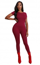 Red Short Sleeve O-Neck Bodycons Sexy Jumpsuit