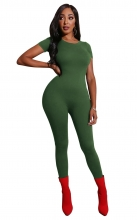 Green Short Sleeve O-Neck Bodycons Sexy Jumpsuit