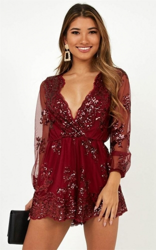 Red Long Sleeve Mesh V-Neck Sequins Sexy Rompers