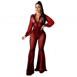 Red  Long Sleeve Mesh V-Neck Rainstones Sexy Jumpsuit