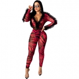 Red Long Sleeve Mesh Printed Bodycons Sexy Jumpsuit