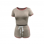 Coffee Short Sleeve O-Neck Cottons Short Sets