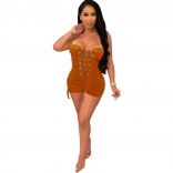 Orange Off-Shoulder Bandage Lace-up Sexy Rompers