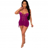 RoseRed Off-Shoulder Bandage Lace-up Sexy Rompers