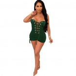 Green Off-Shoulder Bandage Lace-up Sexy Rompers