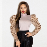 Pink Long Sleeve Sequins Mesh Women Sexy Tops