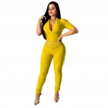 Yellow Short Sleeve V-Neck Bodycons Sexy Jumpsuit