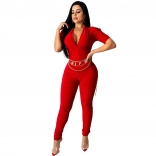 Red Short Sleeve V-Neck Bodycons Sexy Jumpsuit