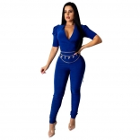 Blue Short Sleeve V-Neck Bodycons Sexy Jumpsuit