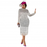 Silver Long Sleeve Sequins Tassels Midi Dress