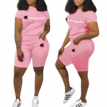 Pink Short Sleeve CHAMPION Printed Women Sexy Short Sets