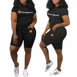 Black Short Sleeve CHAMPION Printed Women Sexy Short Sets