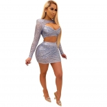 Silver Long Sleeve V-Neck Sequins Bodycons Mini Dress
