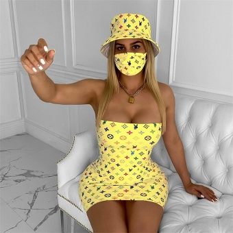 Yellow Off-Shoulder Printed Mini Dress With Fashion Hat & Mask