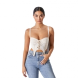 White Halter Low-Cut Mesh Sexy Tops