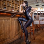 Black Short Sleeve Leather Bodycons Women Sexy Jumpsuit