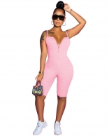 Pink Halter V-Neck Sleeveless Sexy Women Jumpsuit