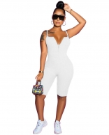 White Halter V-Neck Sleeveless Sexy Women Jumpsuit
