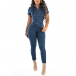 Blue Short Sleeve Jeans Women Sexy Jumpsuit