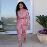 Red Long Sleeve Hollow-out 2PCS Bodycons Women Sexy Jumpsuit