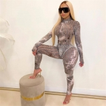 Grey Long Sleeve Hollow-out 2PCS Bodycons Women Sexy Jumpsuit