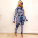 Blue Long Sleeve Hollow-out 2PCS Bodycons Women Sexy Jumpsuit