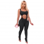 Black Sleeveless Low-Cut V-Neck Bandage Cotton Sexy Jumpsuit
