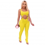 Yellow Sleeveless Low-Cut V-Neck Bandage Cotton Sexy Jumpsuit