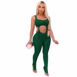 Green Sleeveless Low-Cut V-Neck Bandage Cotton Sexy Jumpsuit