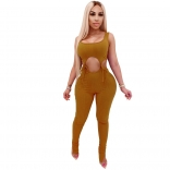 Brown Sleeveless Low-Cut V-Neck Bandage Cotton Sexy Jumpsuit