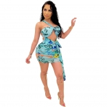 Blue Sleeveless Halter Printed Bodycons Mini Dress