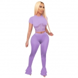 Purple Short Sleeve O-Neck Mesh Bandage Women Jumpsuit