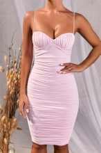 Pink Halter V-Neck Bodycons Midi Dress