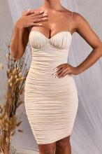 Beige Halter V-Neck Bodycons Midi Dress