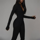 Black Long Sleeve Deep V-Neck Bodycons Sexy Jumpsuit