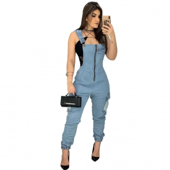 Blue Halter Sleeveless Zipper Sexy Jeans Jumpsuit